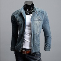 2013 New Brand Designer Mens Stand-collar Denim Jeans Jackets Vintage Short Denim Jacket Cowboy Outwear,L13,free Shipping