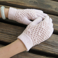 Autumn and winter women's quality wool five fingers gloves handmade knitted thermal gloves finger gloves