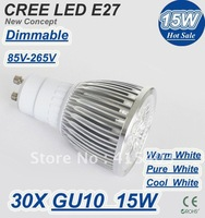 DHL Free shipping On sales 30pcs GU10 LED Bulb lamp 85~265V 5x3W 15W 5leds lights led Spotlight led lamp lighting