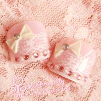 2013 Hot-selling Cute princess lace pink toe Nails/False Nails/Fake Nail/Nail Tips,24 pcs,Free Shipping
