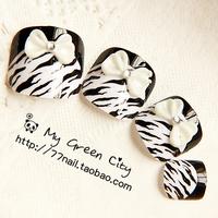 New black&white leopard print cute bowknot toe french Nails/False Nails/Fake Nail/Nail Tips,24 pcs,Free Shipping