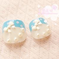 Free Shipping 2014 Hot Sale Small bowknot 3d french  toe fake nail/false nails/nail tips, 24pcs/set