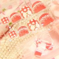 New Arrivals High Quality cute white lace Orange red toe Nails/False Nails/Fake Nail/Nail Tips,24 pcs,Free Shipping