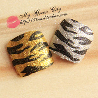 2014 Fashion High Quality glitter gold silvery Zebra Stripe Nails/False Nails/Fake Nail/Nail Tips,24 pcs with glue,Free Shipping