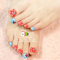 Excellent quality Red and blue hyper color dot toe Nails/False Nails/Fake Nail/Nail Tips,24 pcs,Free Shipping