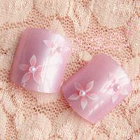 NEW 2014 Gentlewomen little pearl light purple sakura toe /False Nails/Fake Nail/Nail Tips,24 pcs,Free Shipping