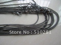 Free ship!!!Bulk 100piece 1.5mm 18'' Gunmetal black (more color can pick up) With lobster clasp Necklace Chain Pendant chain