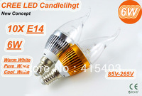 6W E14 E27 3*2W 85-265V Super bright LED Candle Light Bulb Spot Light Warm/Pure White 10pcs/lot