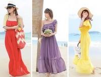 Summer tube top slit neckline strapless chiffon oblique bohemia beach mopping the floor dress full one-piece dress