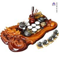 Tea set yixing purple clay tea set kung fu tea solid wood tea tray ceramic embossed teaberries