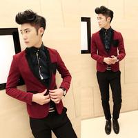 designer 2013 mens red blazer    clothing fashion elegant slim fashion color block decoration   jacket   for men suit blazers