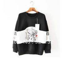2233 Free Shipping Hip Pop Style Ancient Portrait Print Unisex Lovers Couples Loose Design Sweatshirt Coat Black/Grey