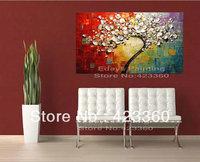 "ORIGINAL Large Tree Painting Multicolor White Cherry Blossom Impasto Landscape Gallery Canvas ,36"" x 24"""