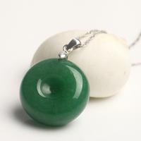 Natural aventurine jade 925 silver necklace pendant