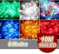 Multicolour 100 LED String Decoration Light 10M for Christmas Party Wedding 220V/110V With 8 Display Modes