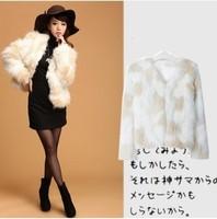2013 fur coat faux fur color block decoration personality fur top
