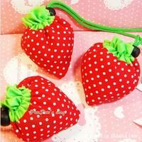 10pcs/Lot Reusable Strawberry Shopping Bag Grocery Folding Bag, Shopping Bag, Free shipping, BG9002