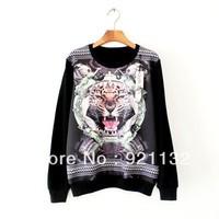 2219 Free Shipping Drop Shipping Tiger Head Print Round Neck Long Sleeve Lovers Unisex Sweatshirt Thin Coat Black/White/Grey