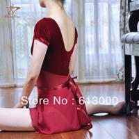 Good quality short sleeve V collar women cotton lycra and velvet one piece leotard ballet dance leotard free shipping