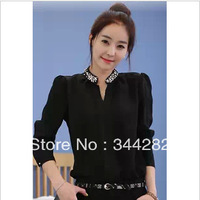 2013 Hitz women's black long-sleeved shirt collar chiffon shirt female shirt wholesale