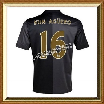 Kun Aguero #16 Manchester City Away Black Soccer Jersey 13/14,Thailand Quality Man City Black Soccer Jersey+Player Version