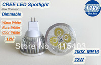 DHL Free Promotion High Power MR16 12W 4X 3W 12V LED Spotlight Bulbs lamp Led downlights light Warm/Cool/Pure White 100pcs/lot