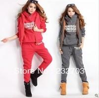 2013 autumn and winter women casual long trousers vest sports set sweatshirt piece set plus velvet thickening