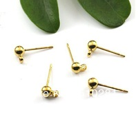 ROLLED GOLD FILLED EARRING EAR STUD BALL LOOP  4mm  x 1pc