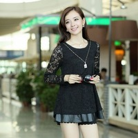 2013 autumn long-sleeve basic shirt female plus size PU patchwork lace chiffon shirt top shirt