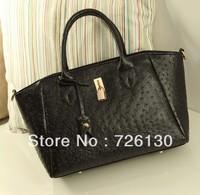 2013 new ostrich pattern retro big bag fashion leisure lady handbag portable shoulder diagonal package