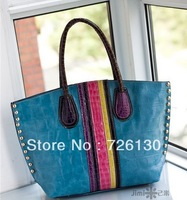 Handbags 2013 new European and American crocodile pattern retro casual bag large bag hand shoulder bag rivets Rainbow