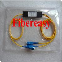 Free Shipping 1 piece FTTH PLC Splitter 1x2 Optic Fiber Coupler Box Module  SC/UPC Connector 1.5meters