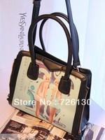 Autumn 2013 new European and American big-name fashion handbags shopping bags printed pouches mobile temperament half