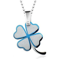 Double layer lucky four leaf clover titanium steel necklace lovers necklace