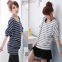 2013 stripe summer casual female short-sleeve t-shirt plus size loose batwing sleeve basic shirt 100
