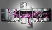 4  piece canvas wall art Modern abstract wall deco purple picture oil painting home decoration ready to hang  free shipping