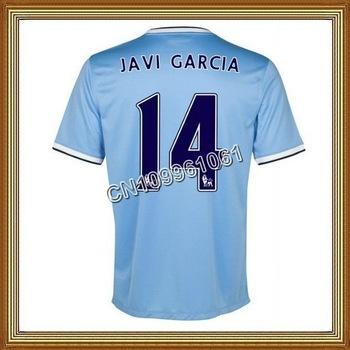 Javi Garcia #14 Manchester City Home Blue Soccer Jersey 13/14,Thailand Quality Man City Soccer Jersey+Player Version
