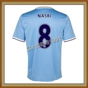 Nasri #8 Manchester City Home Blue Soccer Jersey 13/14,Thailand Quality Man City Soccer Jersey+Player Version