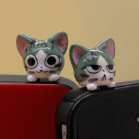 green sweet cat Earphone Jacket Plug Jack Stopper Stopple phone4 4s Plugy Ear Hole Cap Jack Socket Jacket
