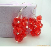 Crystal earrings charm grape fungus Red Hook H-003