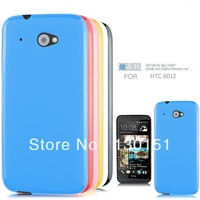 100pcs* High Quality Soft Pudding Matte Back & Jelly Boarder Style TPU Back Case For HTC Desire 601, DHL Freeshipping!
