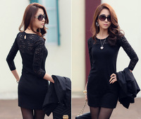 New 2013 Slim Bottoming Skirt,Lace Mixed Colors Package Hip Skirt,Lace Long-Sleeved Big Yards Hollow Out Round Neck Women Dress