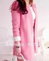 Free shipping, fashion autumn - winter clothes women, casual women 's long sleeve dress long career collarless jacket
