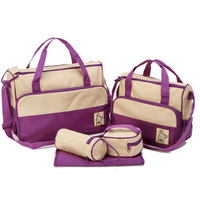 Baby fashion multifunctional nappy bag mummy bag mother bag infanticipate bag baby bags 5 piece set