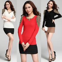 new 2014 puff sleeve basic shirt gold V-neck slim long-sleeve blouses fashion women t-shirts size M, L ,XL ,XXL drop shipping