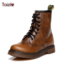 Spring and autumn martin boots genuine leather fashion lacing vintage motorcycle boots martin shoes fashion boots female