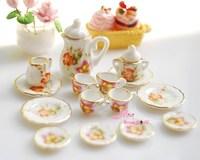 Gift For Girls Dollhouse Miniature porcelain China Coffee Tea Lid Pot Cups Set 15 Furniture