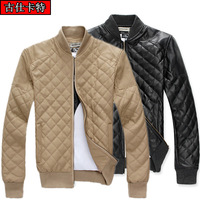 Wholesale champagne PU leather jacket short paragraph Korean version of the British men's casual jackets men's jackets men's Fal