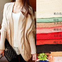 13 autumn and winter female thick yarn loose plus size thickening twisted batwing sleeve cape cardigan sweater outerwear