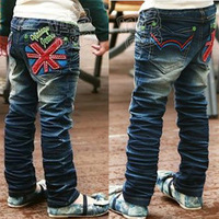 2013 spring and autumn torx flag boys clothing girls clothing child long trousers jeans kz-0297